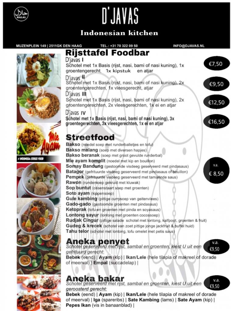 Menu Djavas Indonesian Kitchen