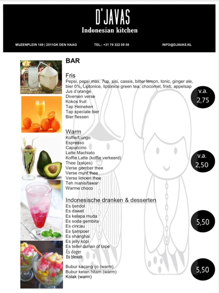 Menu Djavas Indonesian Kitchen Bar